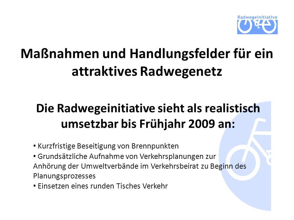 Maßnahmen und Handlungsfelder für ein attraktives Radwegenetz Die Radwegeinitiative sieht als realistisch umsetzbar bis Frühjahr 2009 an: Kurzfristige