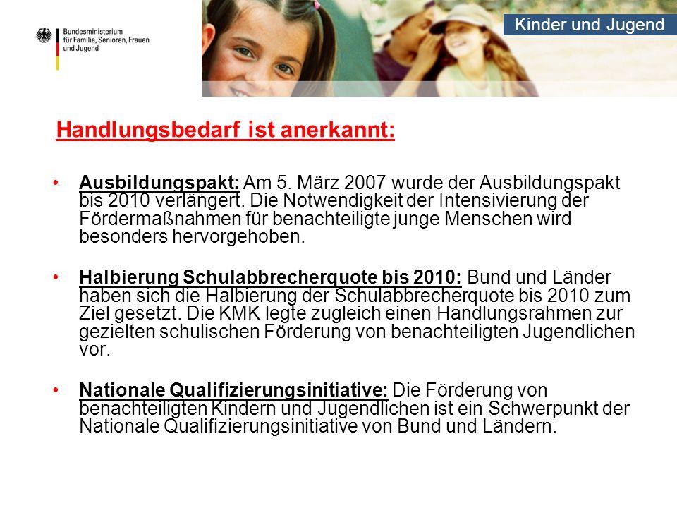 Kinder und Jugend Handlungsbedarf ist anerkannt: Ausbildungspakt: Am 5. März 2007 wurde der Ausbildungspakt bis 2010 verlängert. Die Notwendigkeit der