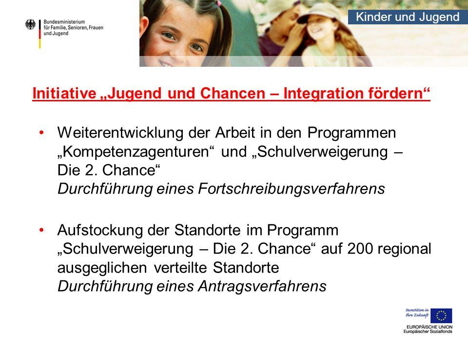 Kinder und Jugend Initiative Jugend und Chancen – Integration fördern Weiterentwicklung der Arbeit in den Programmen Kompetenzagenturen und Schulverwe