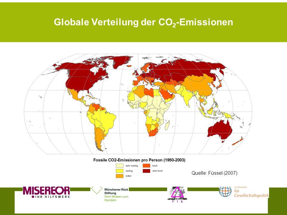 Globale Verteilung der CO 2 -Emissionen Quelle: Füssel (2007)