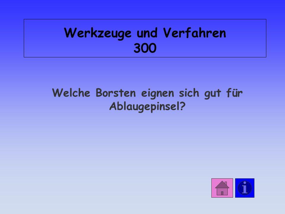 Antwort: Werkzeuge und Verfahren 200 Chinaborsten