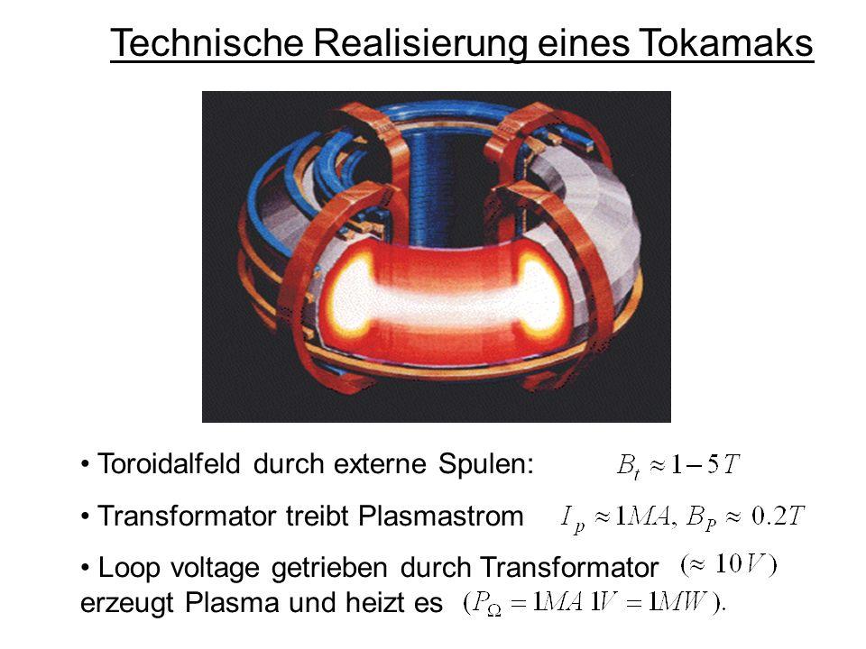 Technische Realisierung eines Tokamaks Toroidalfeld durch externe Spulen: Transformator treibt Plasmastrom Loop voltage getrieben durch Transformator erzeugt Plasma und heizt es