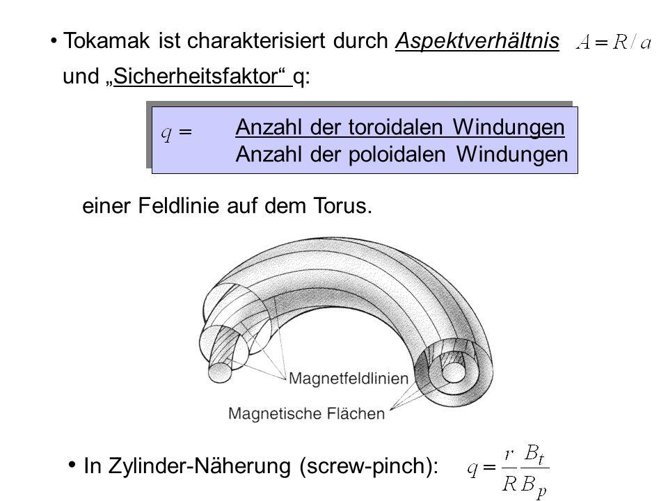 Anzahl der toroidalen Windungen Anzahl der poloidalen Windungen einer Feldlinie auf dem Torus.