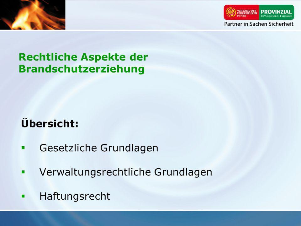 Übersicht: Gesetzliche Grundlagen Verwaltungsrechtliche Grundlagen Haftungsrecht Rechtliche Aspekte der Brandschutzerziehung