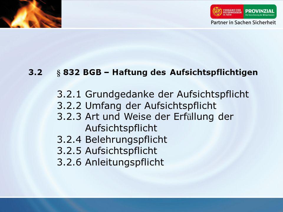 3.2 § 832 BGB – Haftung des Aufsichtspflichtigen 3.2.1Grundgedanke der Aufsichtspflicht 3.2.2Umfang der Aufsichtspflicht 3.2.3Art und Weise der Erf ü
