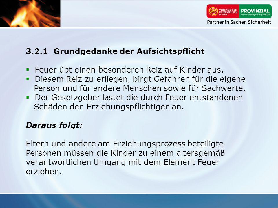 3.2.1Grundgedanke der Aufsichtspflicht Feuer übt einen besonderen Reiz auf Kinder aus. Diesem Reiz zu erliegen, birgt Gefahren für die eigene Person u