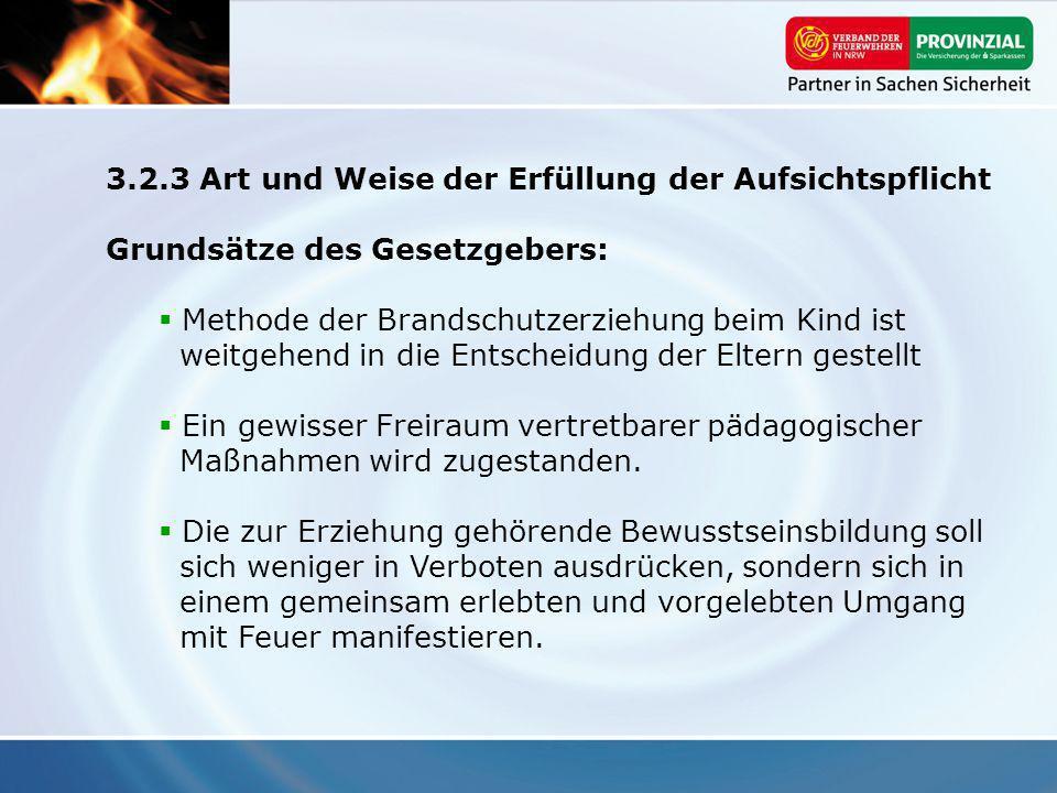 3.2.3 Art und Weise der Erfüllung der Aufsichtspflicht Grundsätze des Gesetzgebers: Methode der Brandschutzerziehung beim Kind ist weitgehend in die E