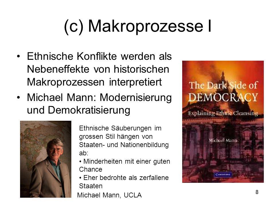 9 (c) Makroprozesse II Bei Andreas Wimmer steht der Kampf um die Staatsmacht im Zentrum Wo es einer Gruppe gelingt, die anderen auszuschliessen, folgt oft Gewalt Risiko besonders gross in demokratischen Mehrheits- regierungen und repressiven Regimen Andreas Wimmer UCLA