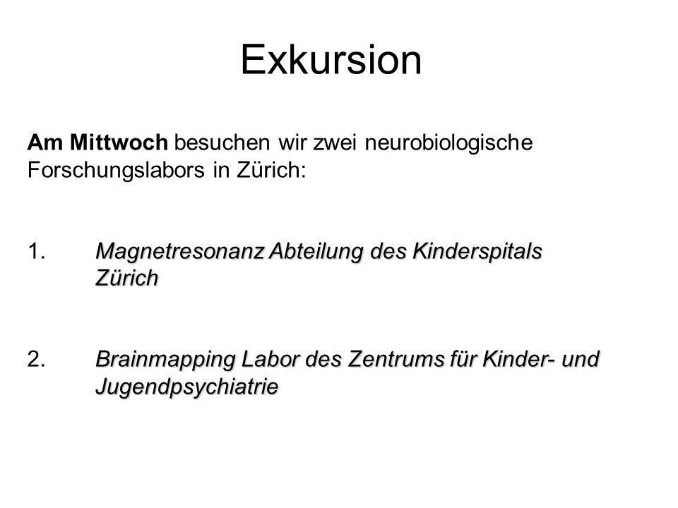 Exkursion Am Mittwoch besuchen wir zwei neurobiologische Forschungslabors in Zürich: Magnetresonanz Abteilung des Kinderspitals Zürich 1. Magnetresona