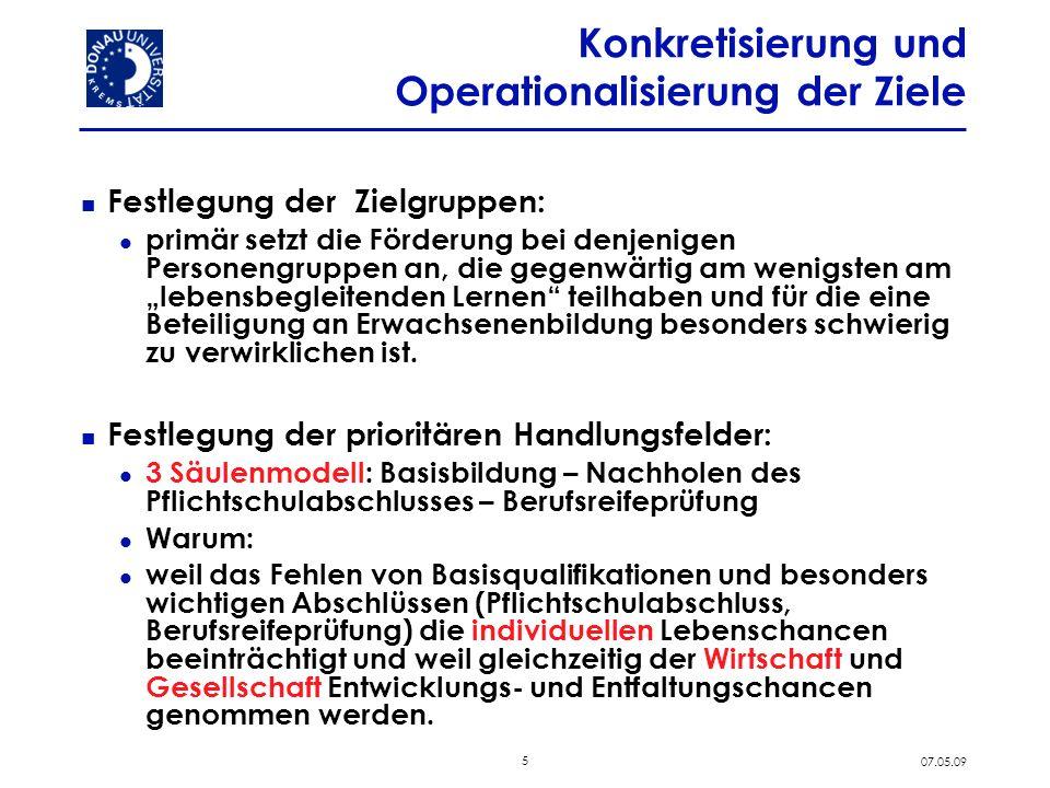 5 07.05.09 Konkretisierung und Operationalisierung der Ziele Festlegung der Zielgruppen: primär setzt die Förderung bei denjenigen Personengruppen an,