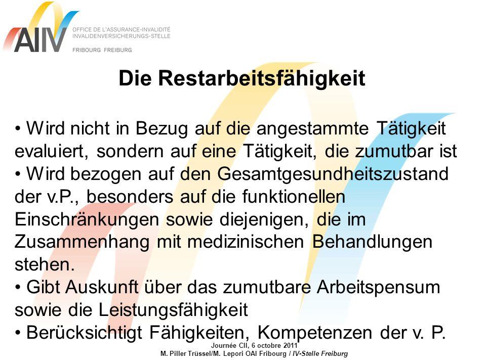 Journée CII, 6 octobre 2011 M. Piller Trüssel/M. Lepori OAI Fribourg / IV-Stelle Freiburg Die Restarbeitsfähigkeit Wird nicht in Bezug auf die angesta
