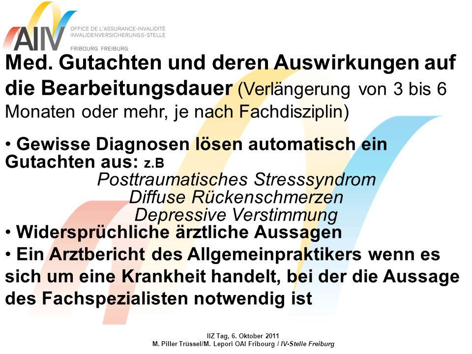 IIZ Tag, 6. Oktober 2011 M. Piller Trüssel/M. Lepori OAI Fribourg / IV-Stelle Freiburg Med. Gutachten und deren Auswirkungen auf die Bearbeitungsdauer