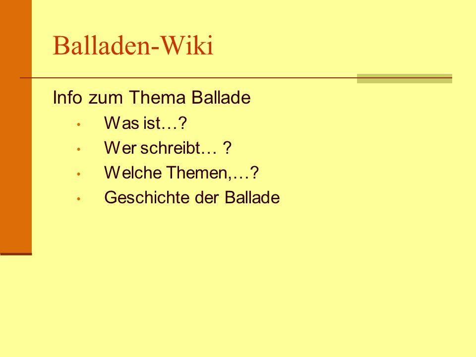 Balladen-Wiki Info zum Thema Ballade Was ist…? Wer schreibt… ? Welche Themen,…? Geschichte der Ballade