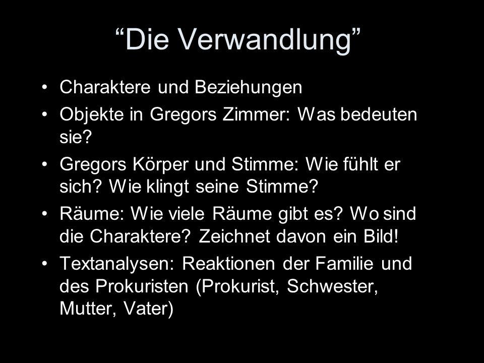 Die Verwandlung Charaktere und Beziehungen Objekte in Gregors Zimmer: Was bedeuten sie.