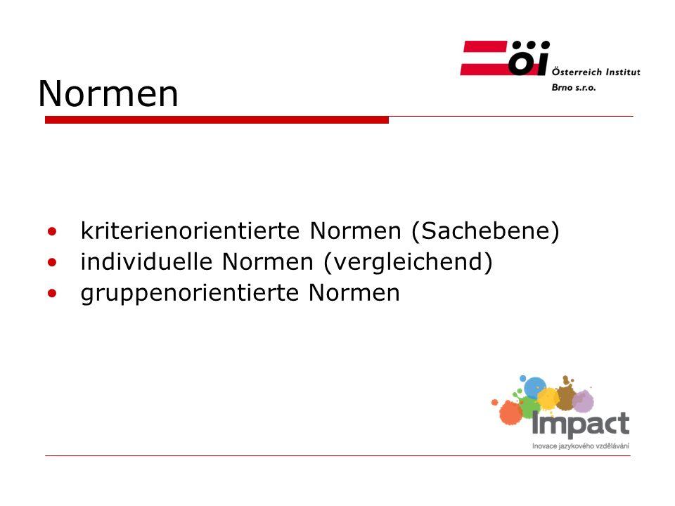 Normen kriterienorientierte Normen (Sachebene) individuelle Normen (vergleichend) gruppenorientierte Normen