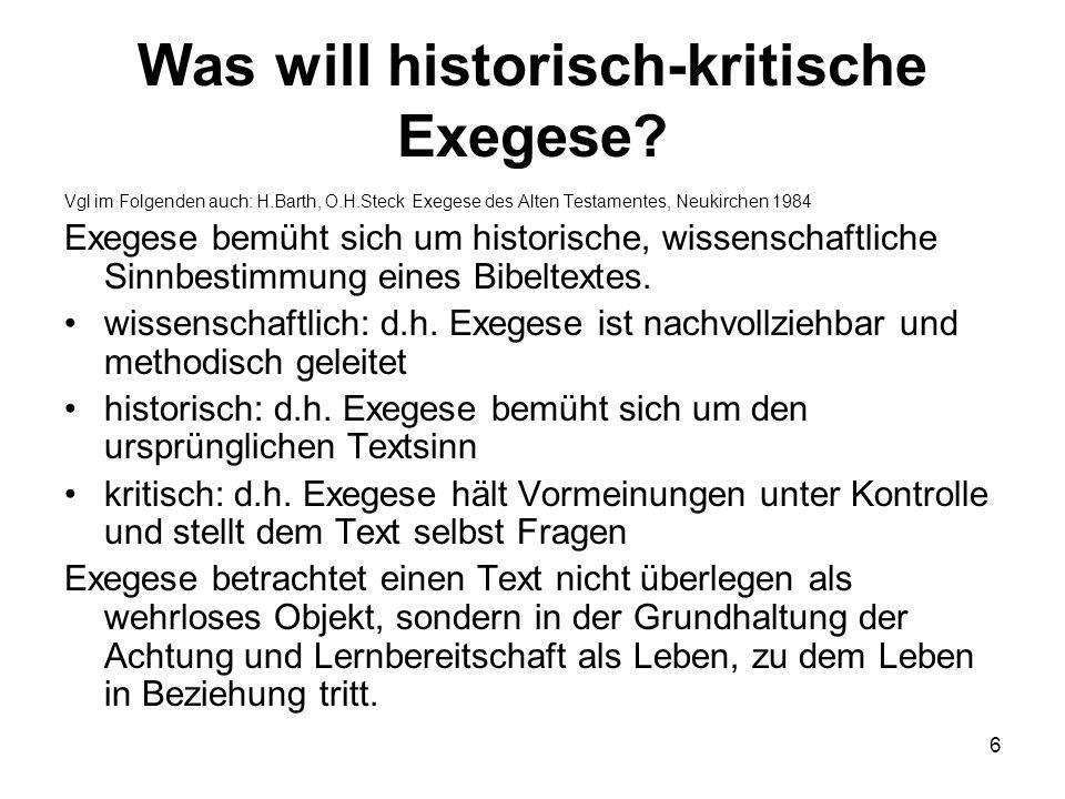 Was will historisch-kritische Exegese.