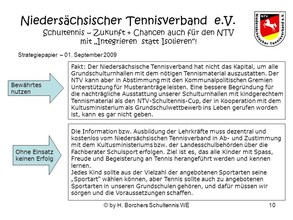 © by H. Borchers Schultennis WE10 Fakt: Der Niedersächsische Tennisverband hat nicht das Kapital, um alle Grundschulturnhallen mit dem nötigen Tennism