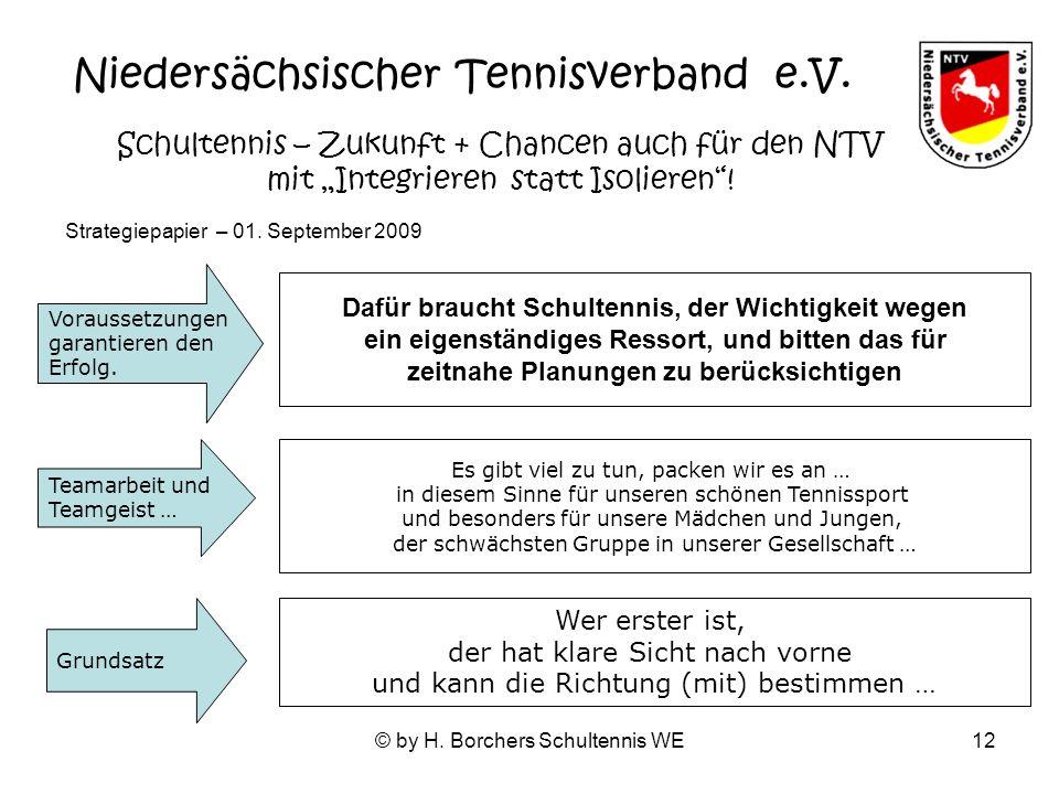 © by H. Borchers Schultennis WE12 Dafür braucht Schultennis, der Wichtigkeit wegen ein eigenständiges Ressort, und bitten das für zeitnahe Planungen z