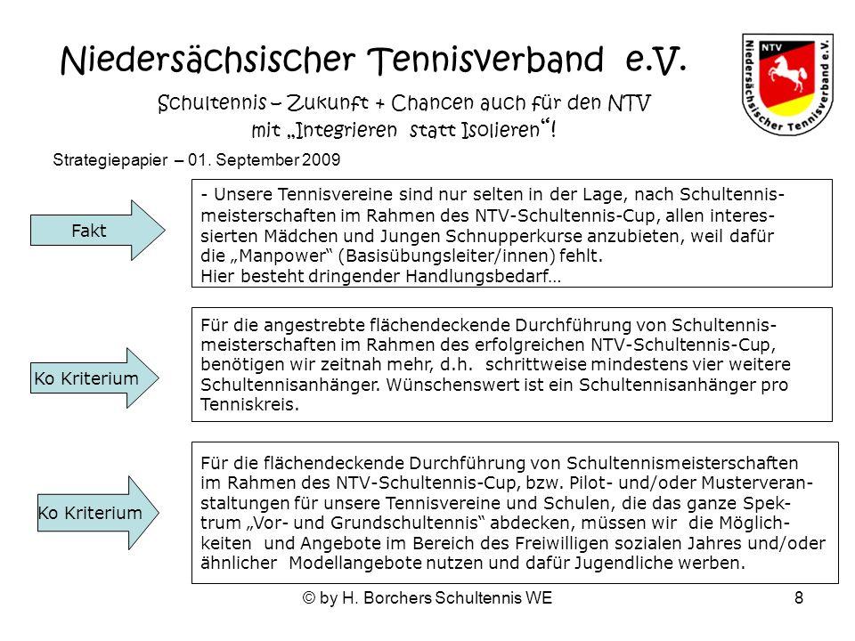 © by H. Borchers Schultennis WE8 - Unsere Tennisvereine s ind nur selten in der Lage, nach Schultennis- meisterschaften im Rahmen des NTV-Schultennis-