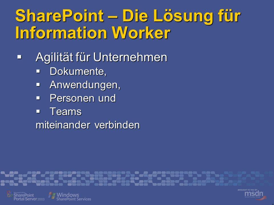 SharePoint – Die Lösung für Information Worker Agilität für Unternehmen Agilität für Unternehmen Dokumente, Dokumente, Anwendungen, Anwendungen, Personen und Personen und Teams Teams miteinander verbinden