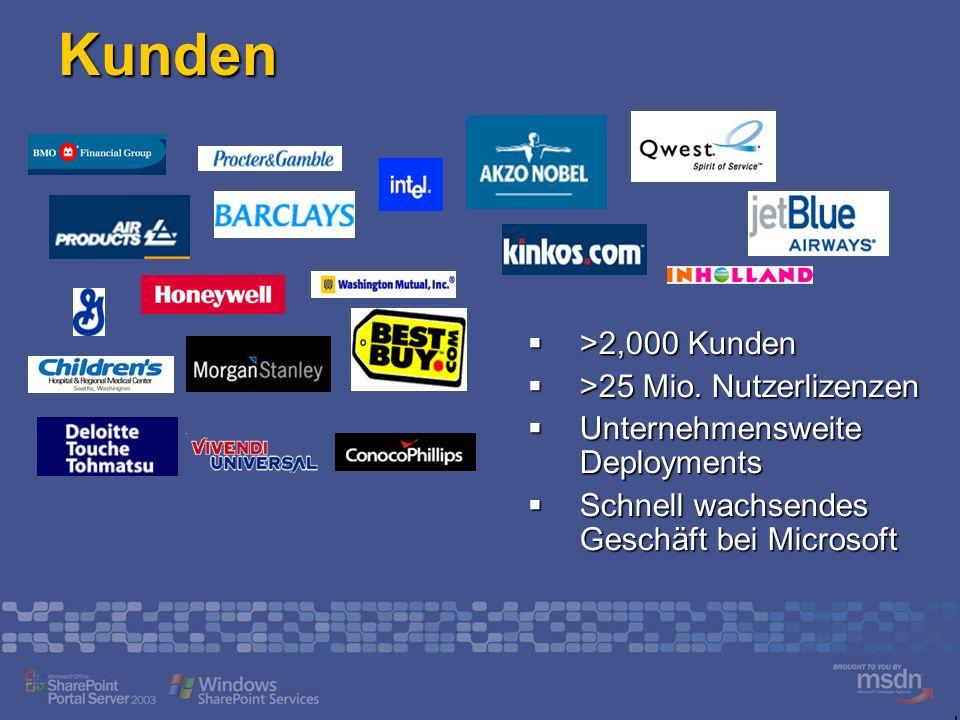 Kunden >2,000 Kunden >2,000 Kunden >25 Mio.Nutzerlizenzen >25 Mio.