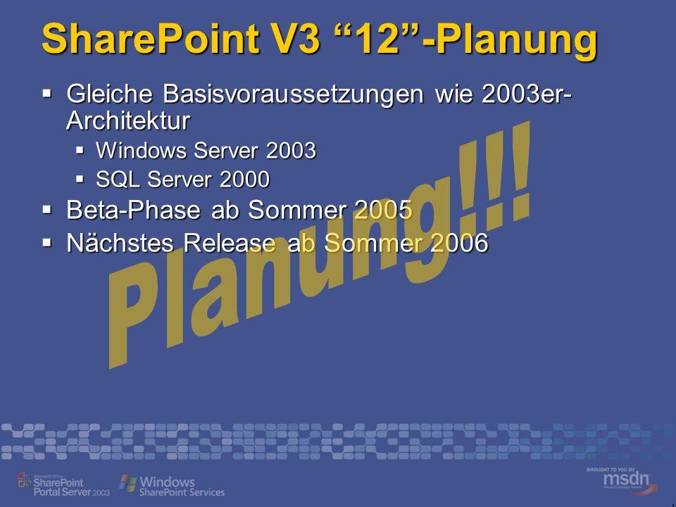 SharePoint V3 12-Planung Gleiche Basisvoraussetzungen wie 2003er- Architektur Gleiche Basisvoraussetzungen wie 2003er- Architektur Windows Server 2003 Windows Server 2003 SQL Server 2000 SQL Server 2000 Beta-Phase ab Sommer 2005 Beta-Phase ab Sommer 2005 Nächstes Release ab Sommer 2006 Nächstes Release ab Sommer 2006