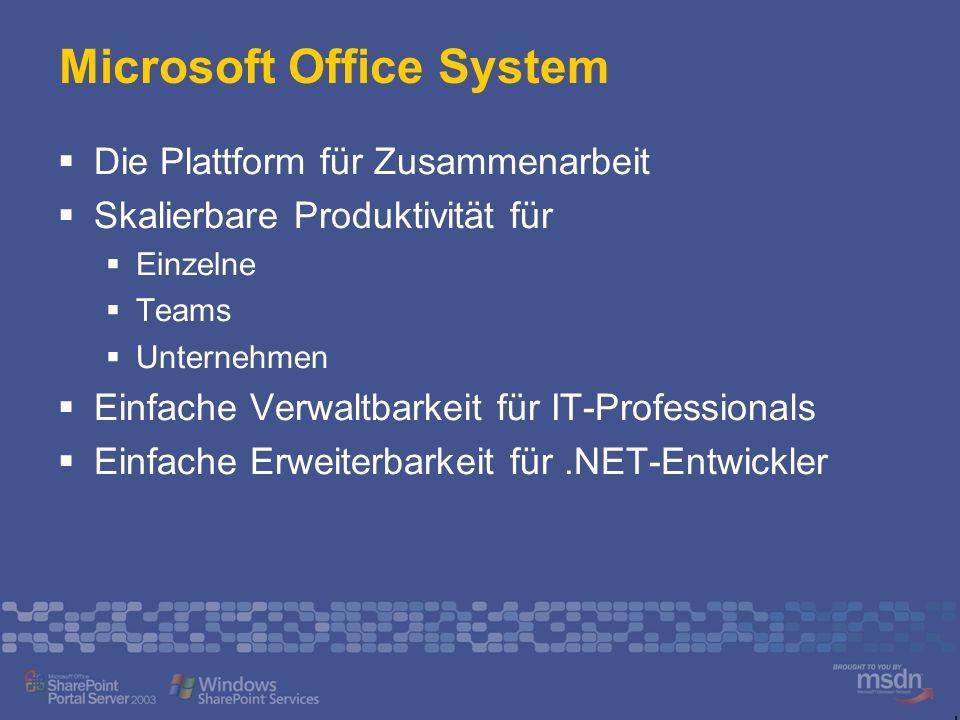 Microsoft Office System Die Plattform für Zusammenarbeit Skalierbare Produktivität für Einzelne Teams Unternehmen Einfache Verwaltbarkeit für IT-Professionals Einfache Erweiterbarkeit für.NET-Entwickler