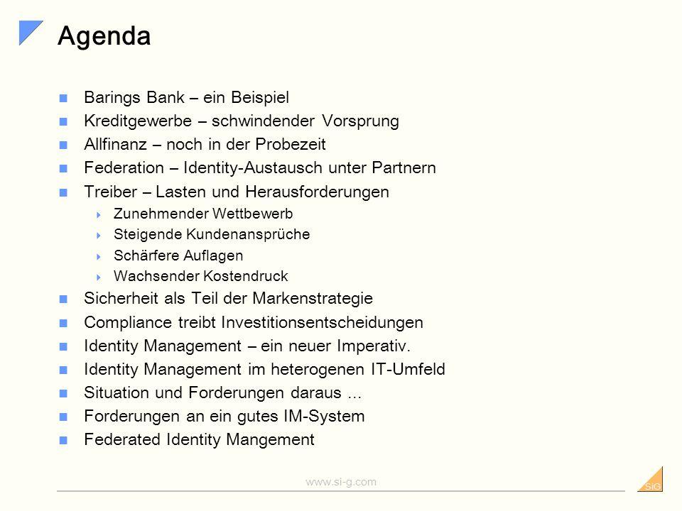 SiG www.si-g.com Identity und Access Management (IAM) im Finanzsektor Version 1.0 Übersicht und wichtige Erfolgsfaktoren Dr.