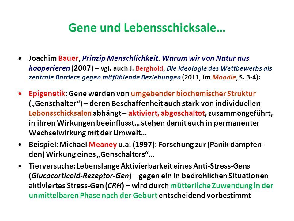 Gene und Lebensschicksale… Joachim Bauer, Prinzip Menschlichkeit.