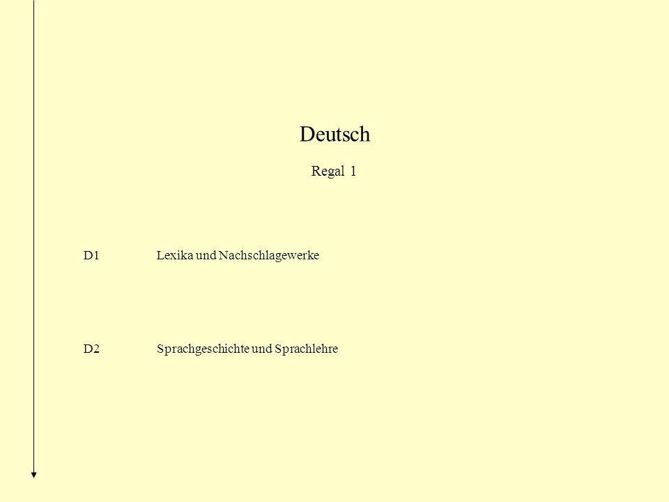 Deutsch Regal 1 D1Lexika und Nachschlagewerke D2Sprachgeschichte und Sprachlehre