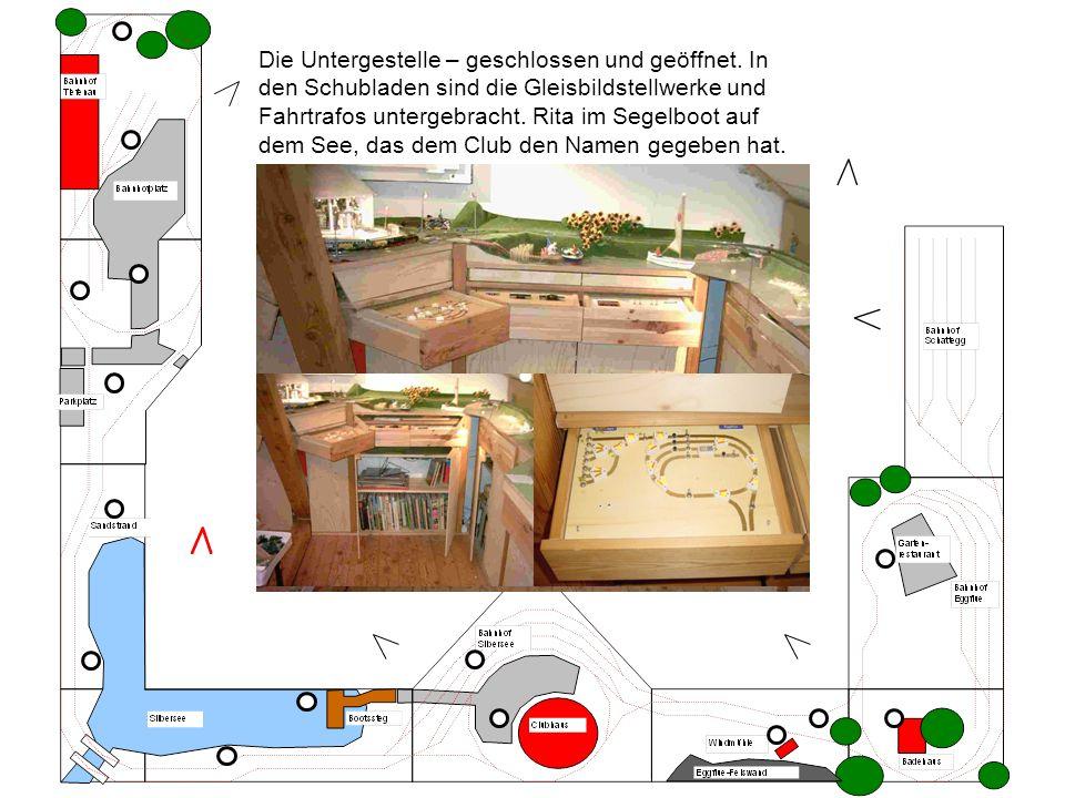 Die Untergestelle – geschlossen und geöffnet. In den Schubladen sind die Gleisbildstellwerke und Fahrtrafos untergebracht. Rita im Segelboot auf dem S