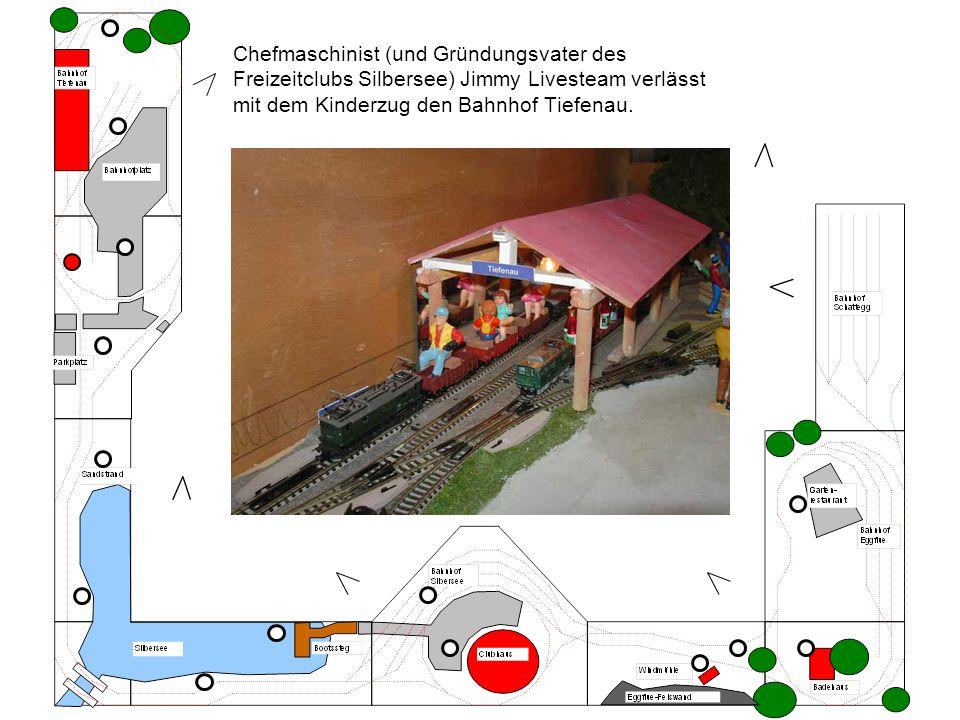Chefmaschinist (und Gründungsvater des Freizeitclubs Silbersee) Jimmy Livesteam verlässt mit dem Kinderzug den Bahnhof Tiefenau.