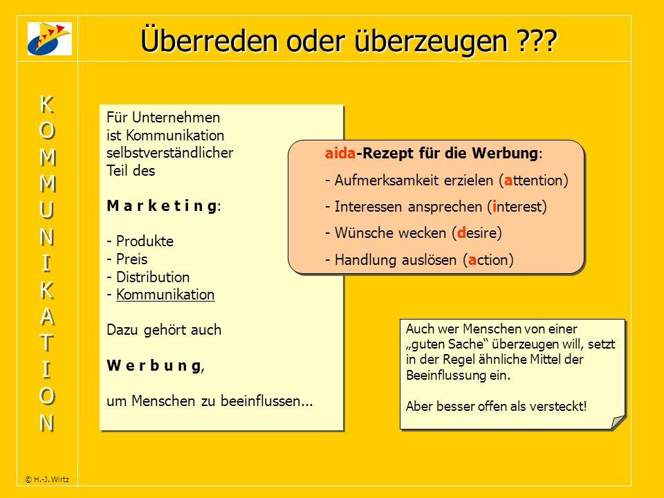 KOMMUNIKATIONKOMMUNIKATION KOMMUNIKATIONKOMMUNIKATION © H.-J. Wirtz Für Unternehmen ist Kommunikation selbstverständlicher Teil des M a r k e t i n g:
