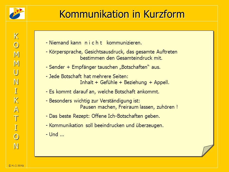 KOMMUNIKATIONKOMMUNIKATION KOMMUNIKATIONKOMMUNIKATION © H.-J. Wirtz Kommunikation in Kurzform - Niemand kann n i c h t kommunizieren. - Körpersprache,