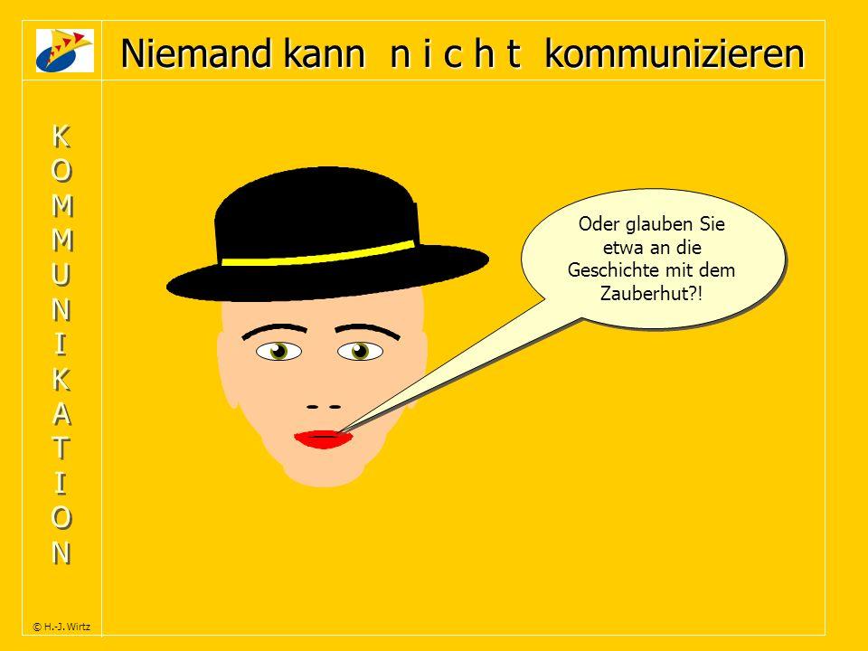 KOMMUNIKATIONKOMMUNIKATION KOMMUNIKATIONKOMMUNIKATION © H.-J. Wirtz Niemand kann n i c h t kommunizieren Oder glauben Sie etwa an die Geschichte mit d
