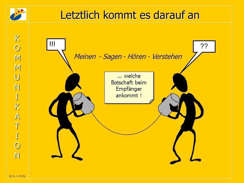 KOMMUNIKATIONKOMMUNIKATION KOMMUNIKATIONKOMMUNIKATION © H.-J. Wirtz Letztlich kommt es darauf an !!! ??... welche Botschaft beim Empfänger ankommt ! M