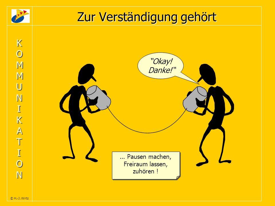 KOMMUNIKATIONKOMMUNIKATION KOMMUNIKATIONKOMMUNIKATION © H.-J. Wirtz Zur Verständigung gehört Okay! Danke!... Pausen machen, Freiraum lassen, zuhören !