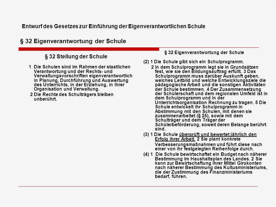 E ntwurf des Gesetzes zur Einführung der Eigenverantwortlichen Schule § 33 Entscheidungen der Schule (Der gültige) § 33 Die Entscheidungen der Schule werden nach Maßgabe der folgenden Vorschriften von den Konferenzen oder von der Schulleitung getroffen.