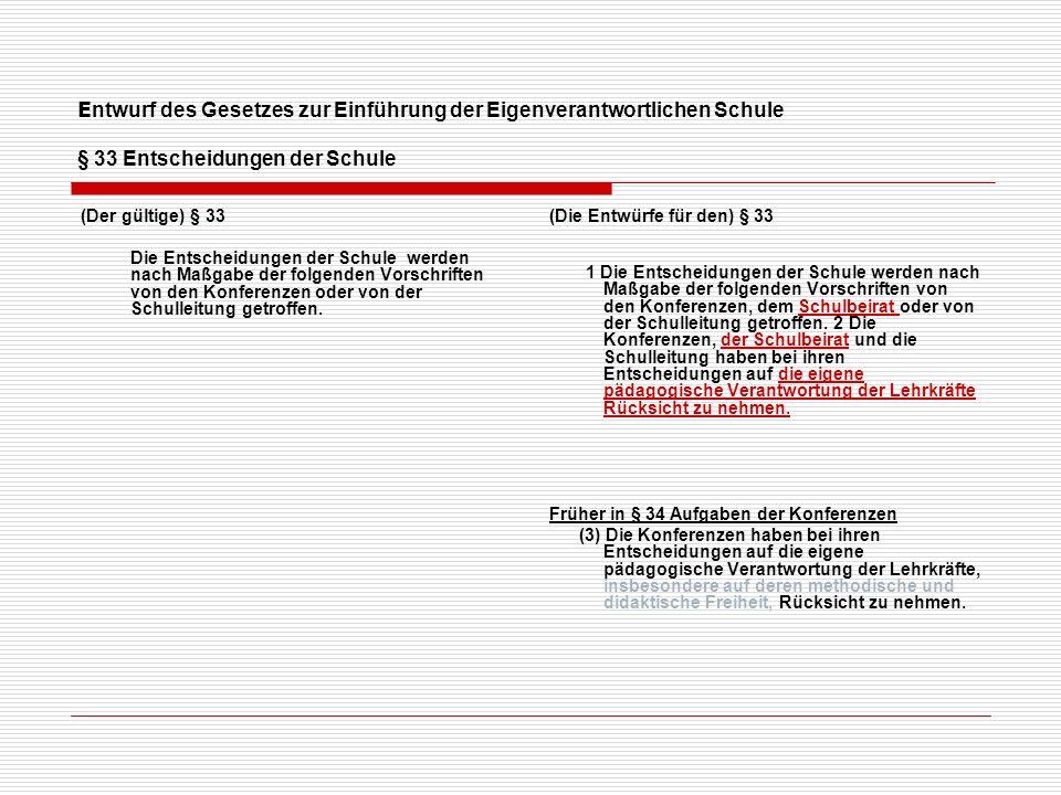 Entwurf des Gesetzes zur Einführung der Eigenverantwortlichen Schule Die Konferenzen (Die Entwürfe für den) § 34 Gesamtkonferenz (1) Die Gesamtkonferenz ist das Entscheidungsgremium der Schule, in dem alle an der Unterrichts- und Erziehungsarbeit der Schule Beteiligten zusammen- wirken.