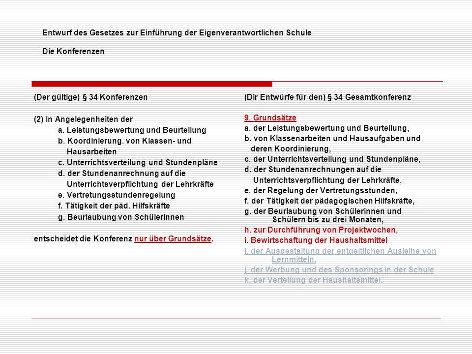Entwurf des Gesetzes zur Einführung der Eigenverantwortlichen Schule Die Konferenzen (Der gültige) § 34 Konferenzen (2) In Angelegenheiten der a.