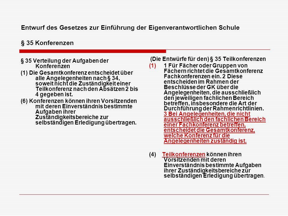 Entwurf des Gesetzes zur Einführung der Eigenverantwortlichen Schule § 35 Konferenzen § 35 Verteilung der Aufgaben der Konferenzen (1) Die Gesamtkonferenz entscheidet über alle Angelegenheiten nach § 34, soweit nicht die Zuständigkeit einer Teilkonferenz nach den Absätzen 2 bis 4 gegeben ist.