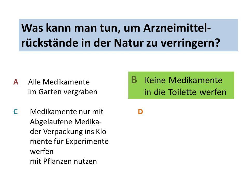 In welcher Form gelangen Arzneimittel- rückstände NICHT in die Natur.