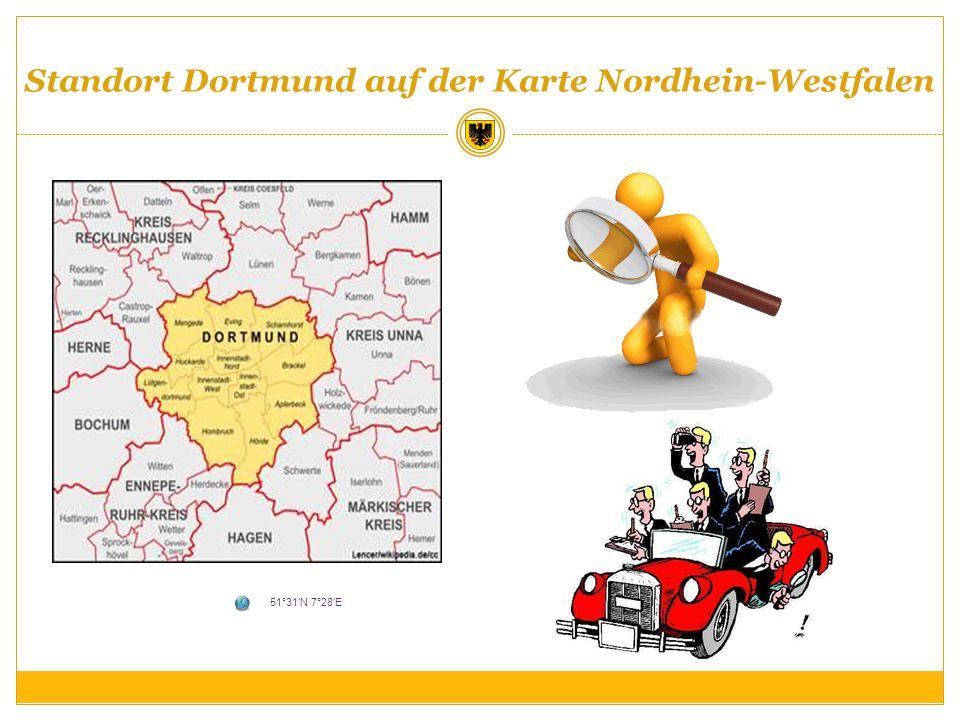 Standort Dortmund auf der Karte Nordhein-Westfalen 51°31N 7°28E