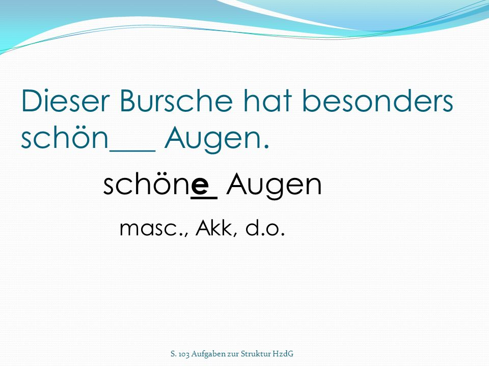 Dieser Bursche hat besonders schön___ Augen. S. 103 Aufgaben zur Struktur HzdG schön e Augen masc., Akk, d.o.