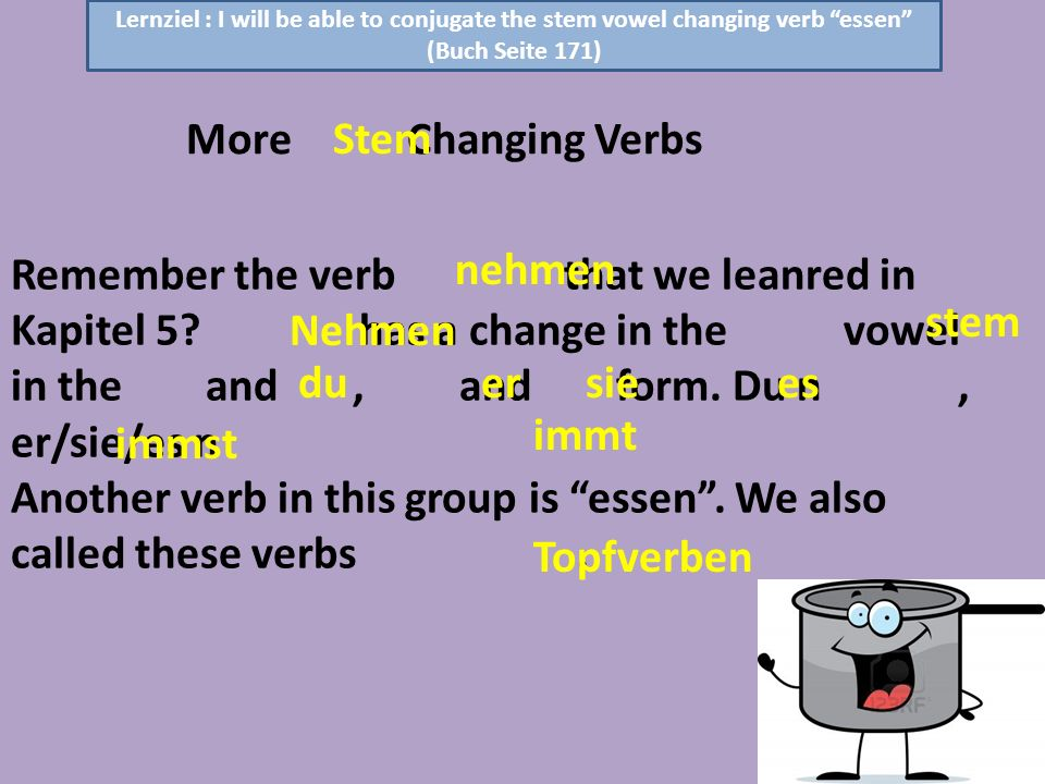 Remember the verb that we leanred in Kapitel 5? has a change in the vowel in the and, and form. Du n, er/sie/es n Another verb in this group is essen.