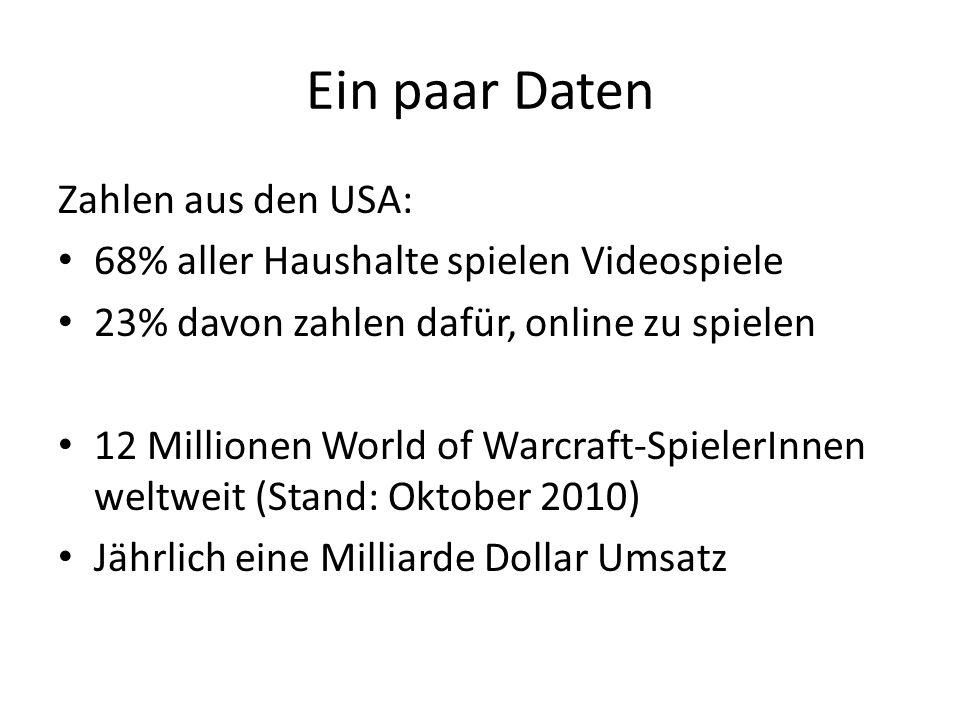 Ein paar Daten Zahlen aus den USA: 68% aller Haushalte spielen Videospiele 23% davon zahlen dafür, online zu spielen 12 Millionen World of Warcraft-Sp