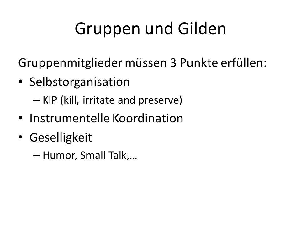 Gruppenmitglieder müssen 3 Punkte erfüllen: Selbstorganisation – KIP (kill, irritate and preserve) Instrumentelle Koordination Geselligkeit – Humor, S