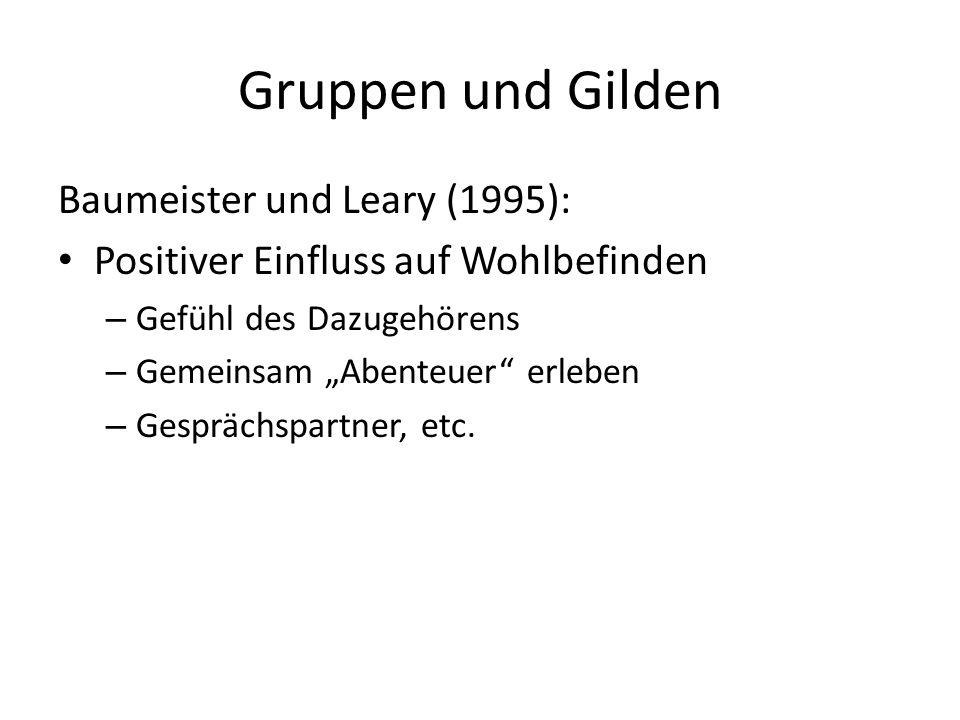 Gruppen und Gilden Baumeister und Leary (1995): Positiver Einfluss auf Wohlbefinden – Gefühl des Dazugehörens – Gemeinsam Abenteuer erleben – Gespräch