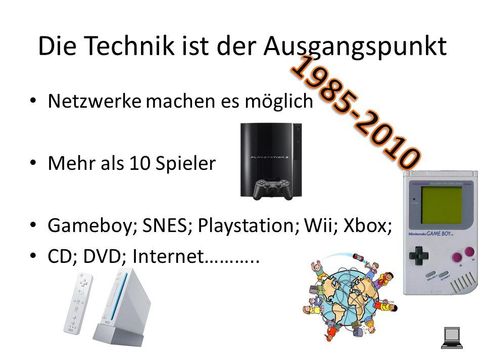 Die Technik ist der Ausgangspunkt Netzwerke machen es möglich Mehr als 10 Spieler Gameboy; SNES; Playstation; Wii; Xbox; CD; DVD; Internet………..