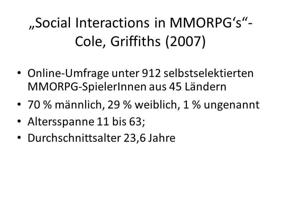 Social Interactions in MMORPGs- Cole, Griffiths (2007) Online-Umfrage unter 912 selbstselektierten MMORPG-SpielerInnen aus 45 Ländern 70 % männlich, 2